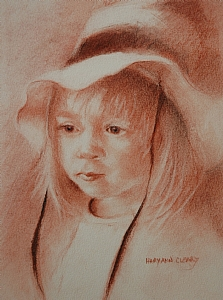 The Girl in a Hat by MaryAnn Cleary Pastel ~ 10 x 8