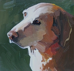 Waggy Tail by Adele Earnshaw Oil ~ 5 x 5