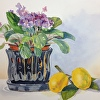 still life violets and lemons