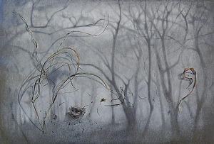 "Winter Woods  Isaiah 40:7-8 by Christen Humphries Graphite & Gouache ~ 34"" x 52"""