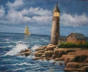 Lighthouse by Wayne Tarshis Oil ~ 16 x 20