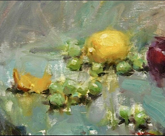 Lemon & Grapes by Dan Beck Oil ~ 8 x 10