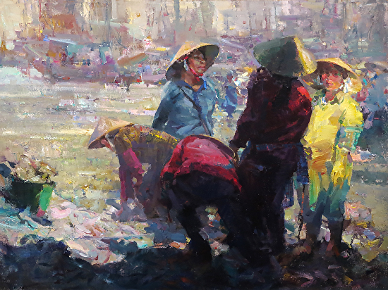 Bai Hai Fish Sellers - Oil