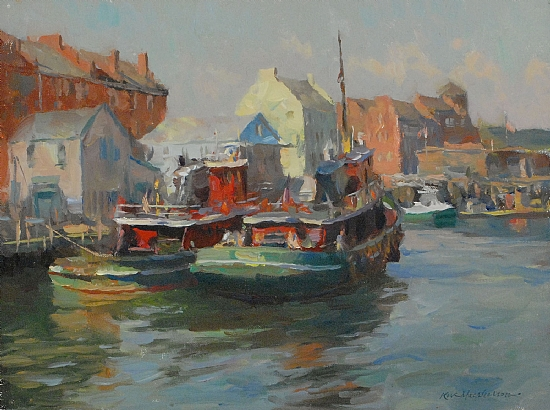 "Portsmouth Tugs by Kevin Macpherson Oil ~ 12"" x 16"""