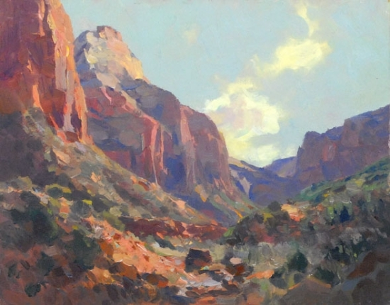 """Rich Reds of Zion by Kevin Macpherson Oil ~ 11"" x 14"""