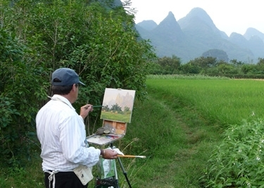 Kevin painting in China by Kevin Macpherson  ~  x