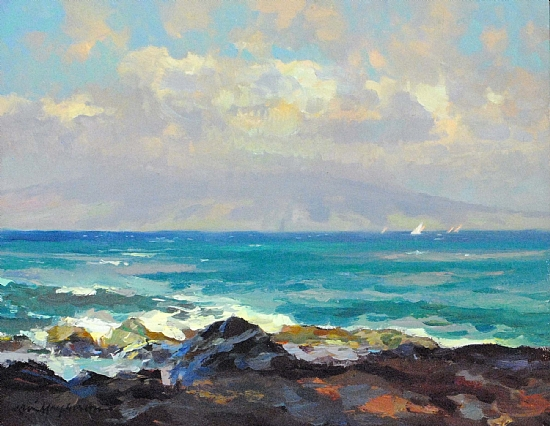 "Morning Molakai View, Maui Regata by Kevin Macpherson Oil ~ 11"" x 14"""