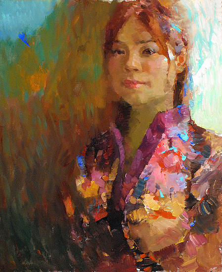 """China girl 1 by Kevin Macpherson Oil ~ 20"""" x 16"""""""