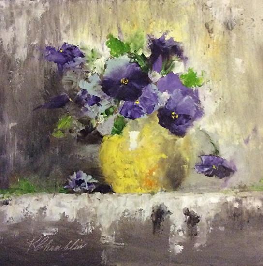 Purple Pansies - Oil