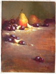 Pear and grapes by David Riedel  ~ 12 x 9