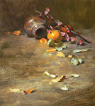 Clay Pot and One Orange by David Riedel  ~ 14 x 18