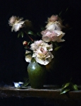 Peonies and Green Vase by David Riedel Oil ~  x