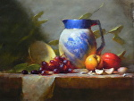 Blue and White Vase by David Riedel Oil ~  x