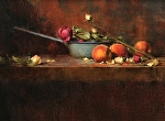 Enamel Pan and Peaches by David Riedel Oil ~ 11 x 15