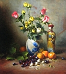 The Emperor's Roses by David Riedel Oil ~ 21 x 19