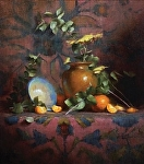 Orange and Eucalyptus Branch by David Riedel Oil ~ 18 x 16