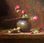 Three Red Roses by David Riedel Oil ~ 14 x 14