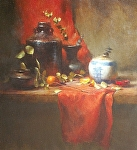 Black, Red and White by David Riedel Oil ~ 24 x 22