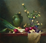 Green Vase by David Riedel Oil ~ 22 x 24