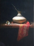 White Vase and Red Silk by David Riedel Oil ~ 26 x 19