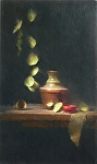 Bell and Red Cup by David Riedel Oil ~ 22 x 13