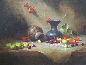 Earthenware Vase by David Riedel Oil ~ 16 x 21