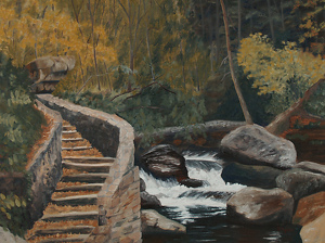 "ApproachingTheCascades by Barbara Ryan Oil ~ 18"" x 24"""