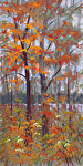 Lingering Maples by Lisa Stauffer Pastel With Watercolor Underpainting ~ 12 x 6