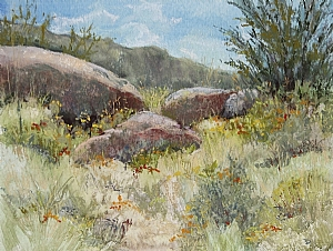 "Sandia Mountains by Lisa Stauffer Soft Pastel With Watercolor Underpainting ~ 9"" x 12"""