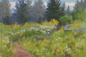 Maple Hill Meadow by Lisa Stauffer Pastel With Watercolor Underpainting ~ 12 x 18