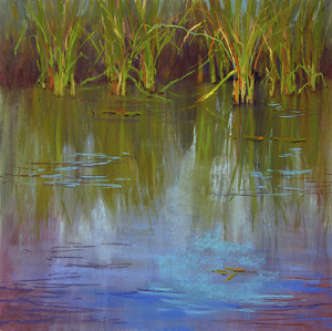 Red Wing Shoe Pond by Lisa Stauffer Pastel With Watercolor Underpainting ~ 12 x 12