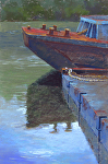 Old Blue Barge by Lisa Stauffer Pastel ~ 18 x 12