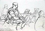 "BELGIAN PARATROOPER, KISMAYO, SOMALIA 1993 by Donna Neary Pencil ~ 7.5 "" x 10.5"""