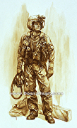Desert Storm Helicopter pilot 1991 by Donna Neary Watercolor ~  x