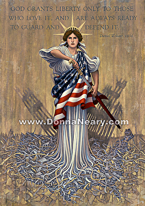 "LIBERTY RISING   (Patriot Edition) by Donna Neary Giclee ( archival digital reproduction ) ~ 20"" x 15"""