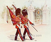 CHANGING OF THE GUARD, BUCKINGHAM PALACE by Donna Neary Watercolor ~  x