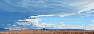 """Storm over Cabezon Peak, NM by Mary-Austin Klein Oil ~ 7.5"""" x 17.5"""""""