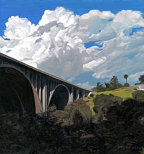 "134 FWY Bridge over the Arroyo Seco by Mary-Austin Klein Oil ~ 8.75"" x 8.25"""