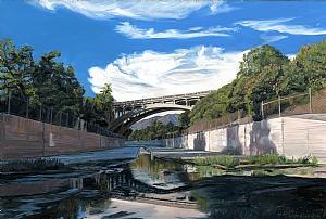 """Orange Grove Blvd. Bridge, Pasadena by Mary-Austin Klein Oil ~ 7"""" x 10.5"""""""