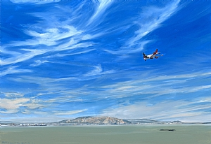 "SFO from Coyote Point by Mary-Austin Klein Oil ~ 5"" x 7.25"""
