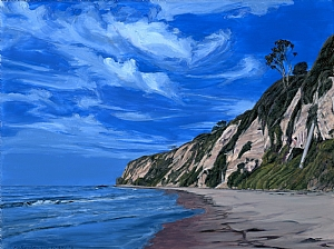 Hendry's Beach Santa Barbara by Mary-Austin Klein Oil ~ 5.25 x 7""