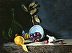 """Blue Bowl with Grapes and Tangerine by Rey Ford Oil ~ 12"""" x 16"""""""