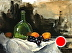 """Wine Bottle, Grapes and Apricots by Rey Ford Oil ~ 12"""" x 16"""""""