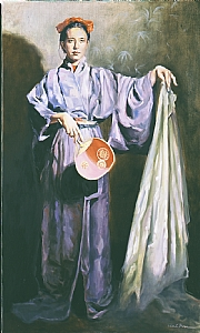 Deborah in a Kimono by Ellen Brown Oil ~ 46 x 28