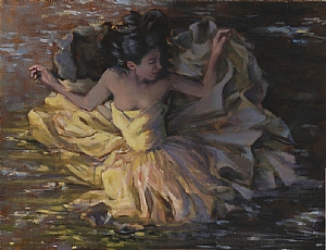 yellow dress floating by Ellen Brown Oil ~ 12 x 16