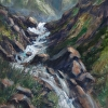 Hatcher Pass Mine Waterfall by Don Kolstad Oil ~ 20 x 16