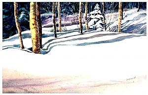 "Back Yard by Georgeann Waggaman Watercolor ~ 22"" x 40"""