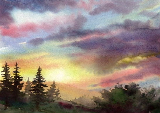 "Mountain Fog by Georgeann Waggaman Watercolor ~ 14"" x 18"""