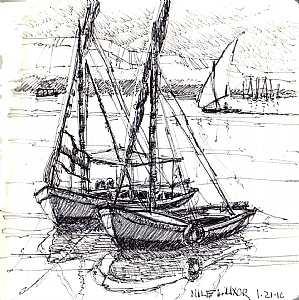 "Felluccas on the Nile by Georgeann Waggaman Pen ~ 5.5"" x 5.5"""