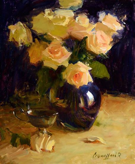 Yellow Roses Wrapped in Violet - Oil